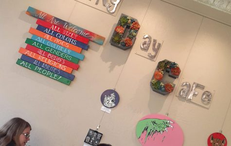 Morning Day is decorated with many spring themed items, as well as art pieces from local artists hanging on the walls.