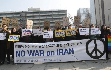 Protestors advocate for a peaceful alternative to war in Iran.