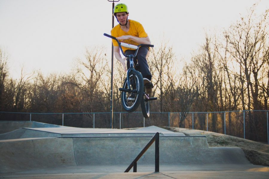 Mason Busch jumps his BMX bike at the BMX park that is in Springfiled.