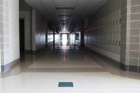 The hallways of Nixa High School are empty.