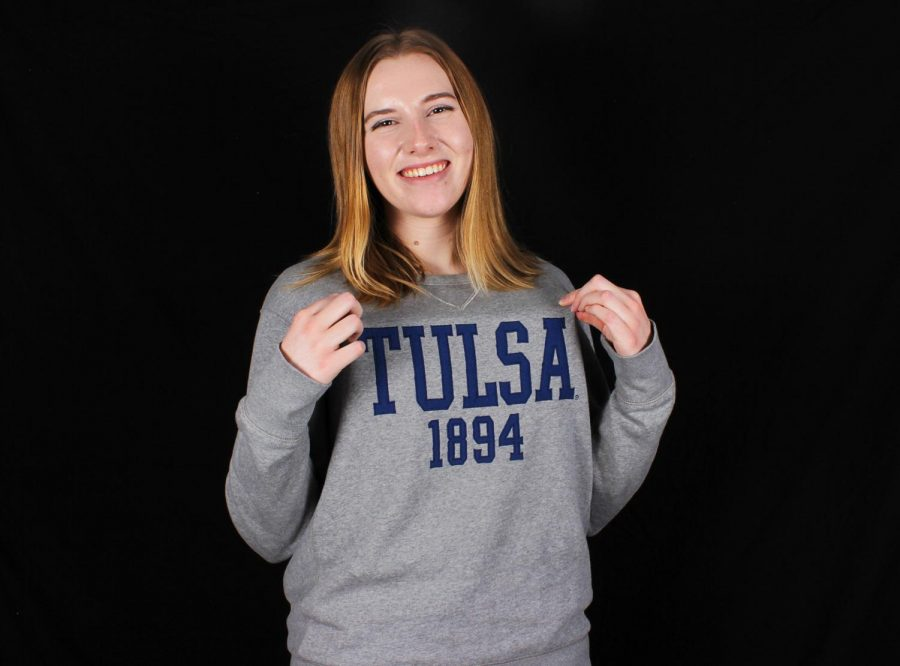 Senior+Susan+Hardy+shows+off+her+University+of+Tulsa+merchandise.+PHOTO+