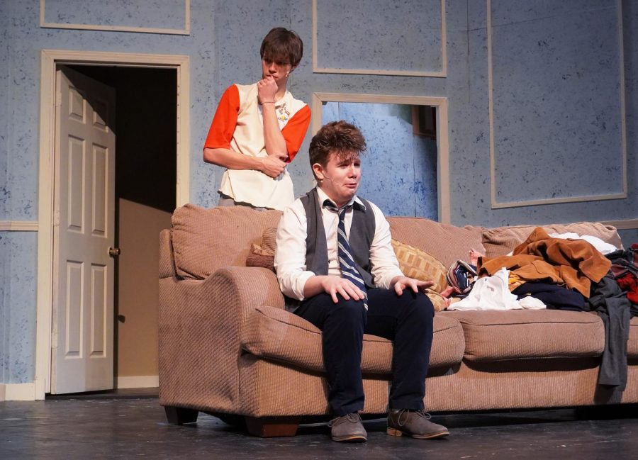 Lead roles in the male The Odd Couple show, Michael Schimmer and Tristin Bogner share the stage.