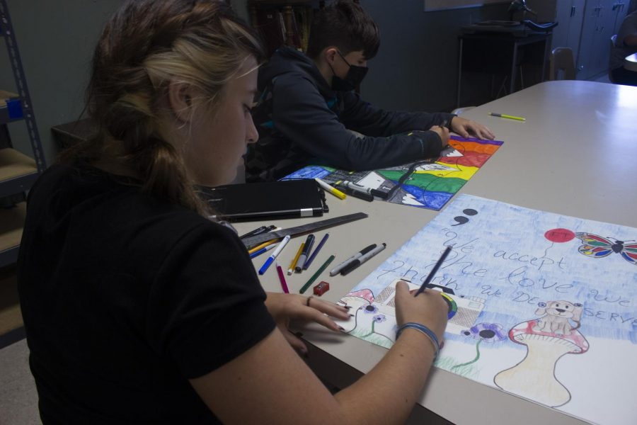 The Art Foundations class at Nixa High School, works on their drawing skills. Face masks became optional during summer school. In the art room students were excited to get their drawing on.