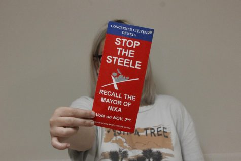 """the Concerned Citizens of Nixa distribued these pamphlets to Nixa residents homes.  """"Get educated on current events, talk to your council members,"""" Giddens said. """"Know what you are voting for."""""""